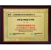 2012中国按摩保健器具行业年度出口十强企业